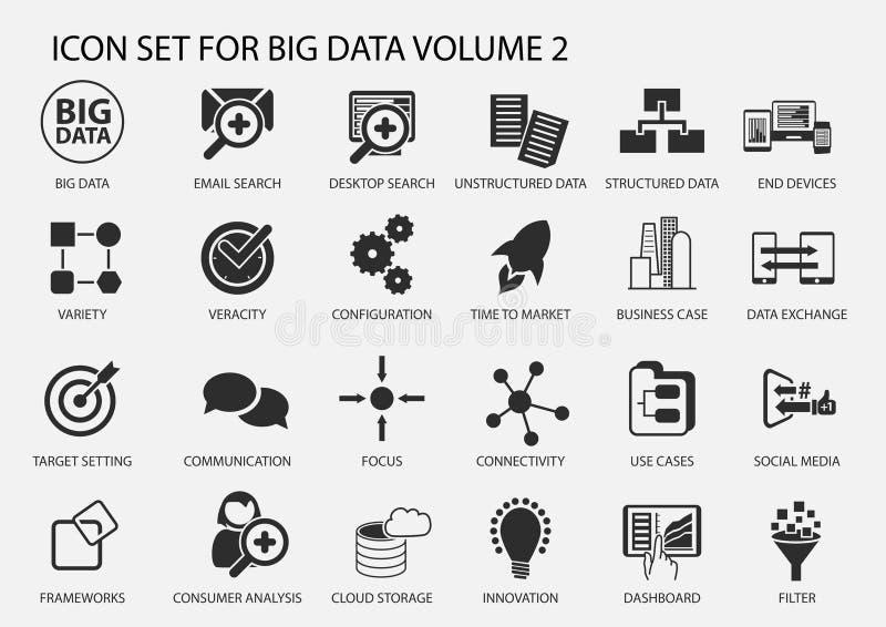 Grande insieme dell'icona di dati nella progettazione piana