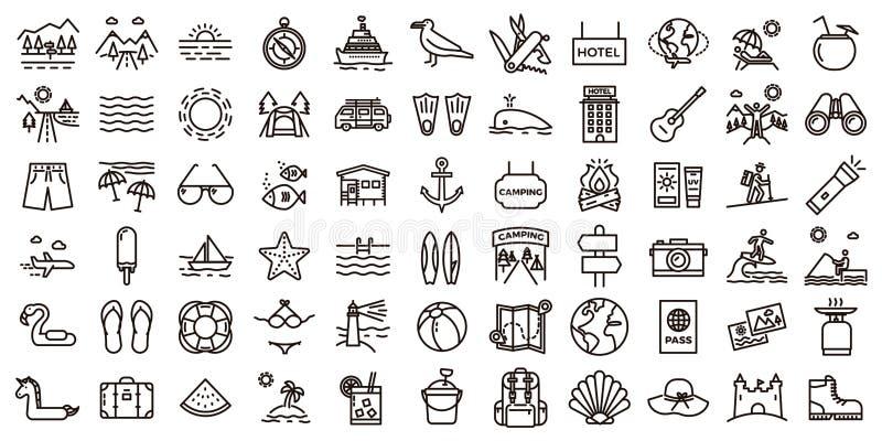 Grande insieme dell'icona di vacanze estive Illustrazioni al tratto sottile di vettore royalty illustrazione gratis