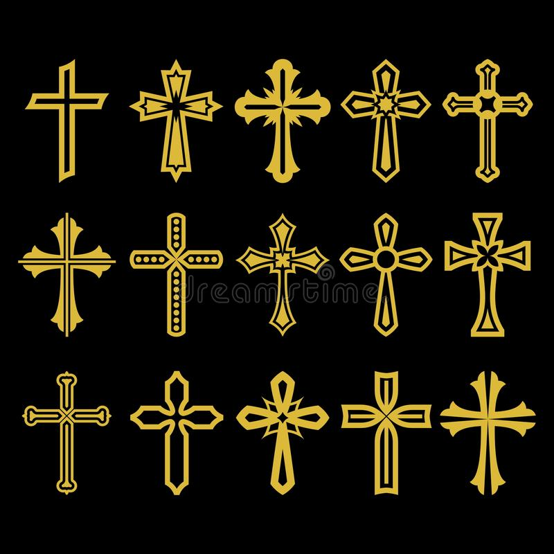 Grande insieme dell'incrocio di vettore, raccolta degli elementi di progettazione per creare il logos Simboli cristiani illustrazione vettoriale