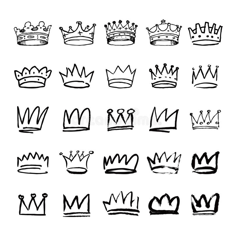 Grande insieme delle corone e delle icone estratte nere illustrazione di stock