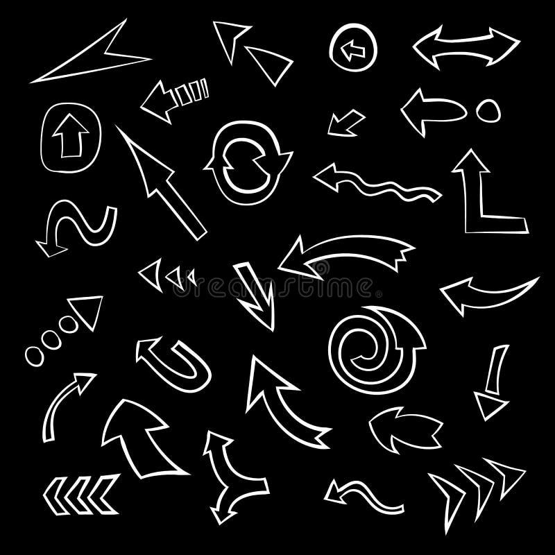 Grande insieme delle frecce disegnate a mano Raccolta dei simboli della freccia di scarabocchio, vettore illustrazione di stock