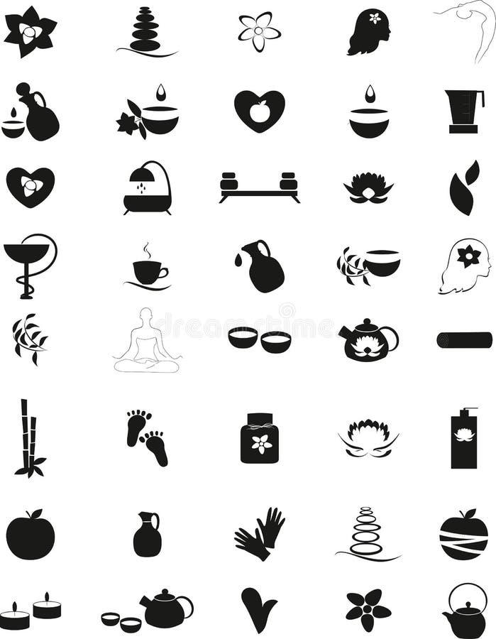 Grande insieme delle icone in bianco e nero della stazione termale illustrazione di stock