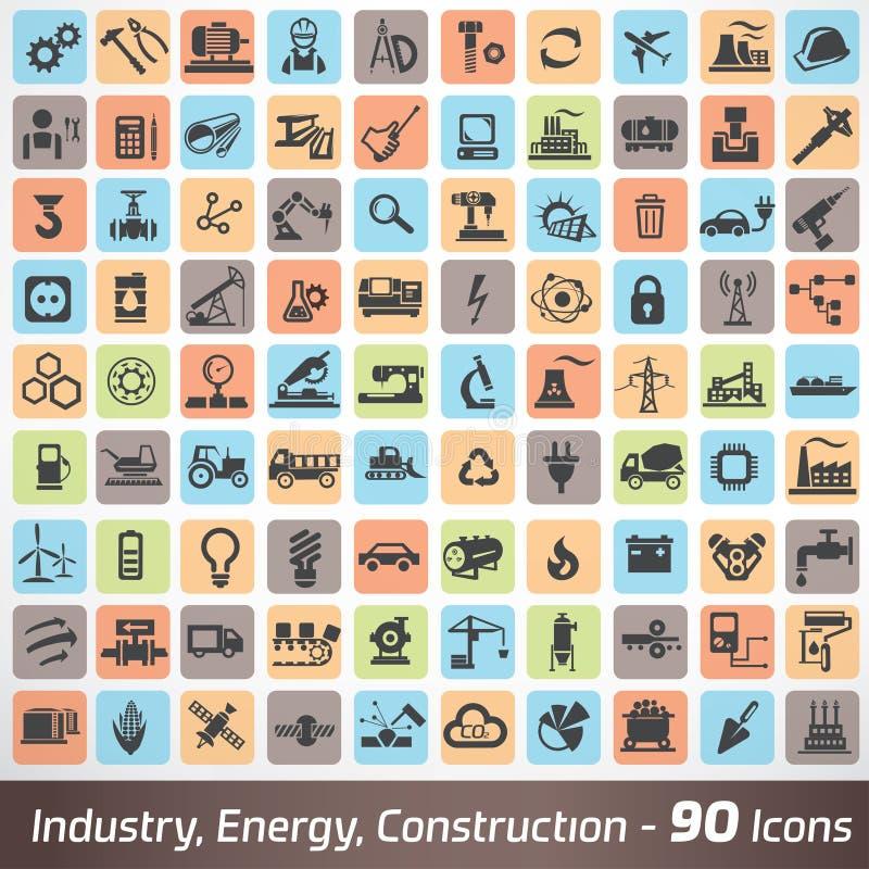 Grande insieme delle icone di industria, di ingegneria e della costruzione illustrazione di stock