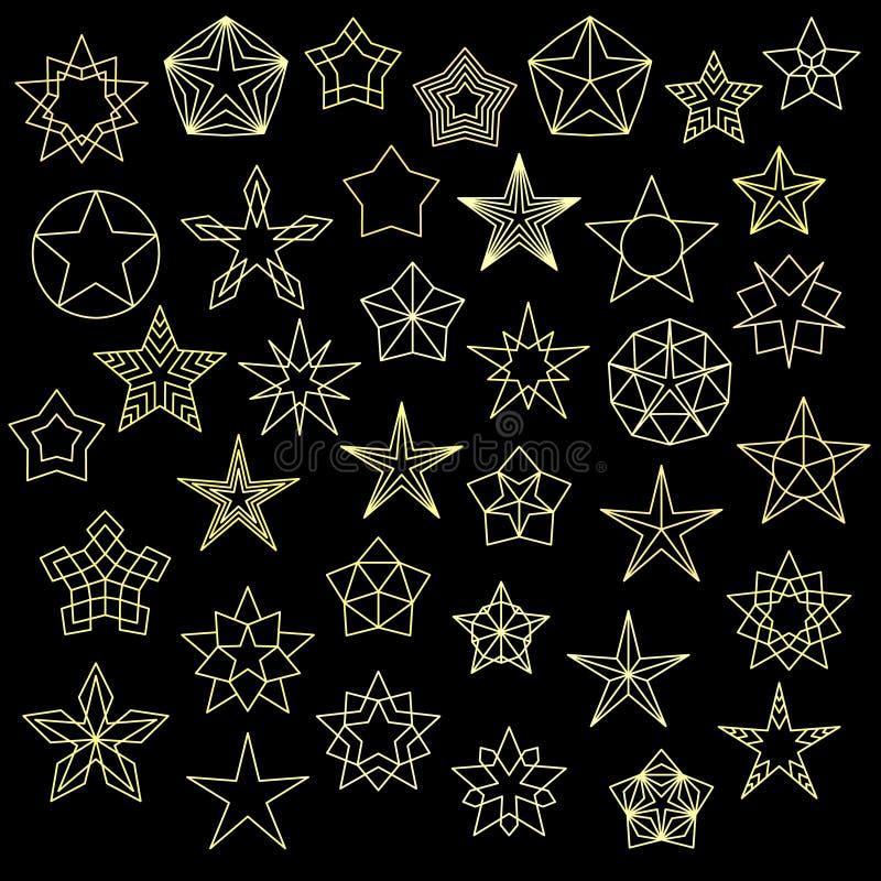 Grande insieme delle icone variopinte della stella royalty illustrazione gratis