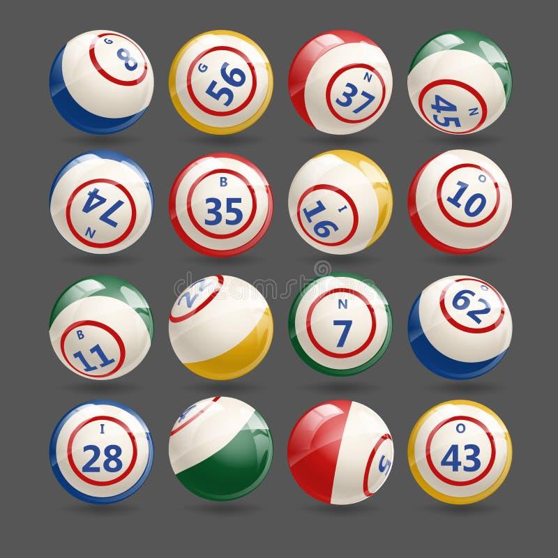Grande insieme delle palle di bingo di lotteria illustrazione vettoriale