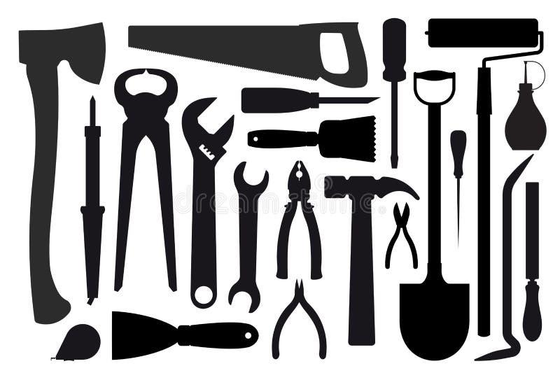 Grande insieme delle siluette degli strumenti dei lavoratori illustrazione di stock