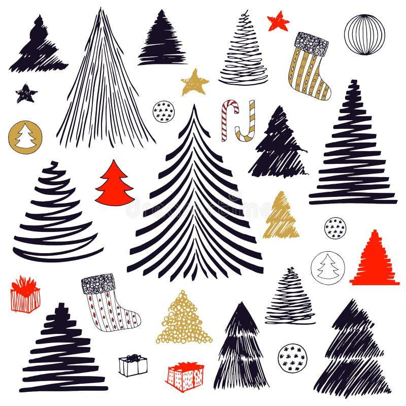Grande insieme dello scarabocchio dell'albero di Natale Illustrazione disegnata a mano di schizzo del grafico di vettore Elementi illustrazione di stock