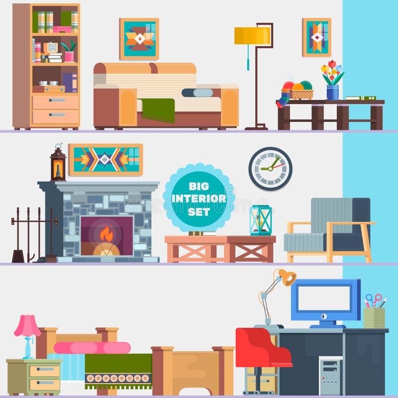 Grande insieme dettagliato dell'interno Mobilia domestica Interior design Insieme dell'armadietto degli elementi, sofà, camino, t royalty illustrazione gratis