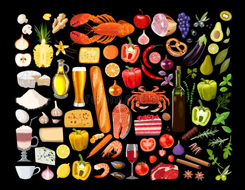 Grande insieme di alimento illustrazione vettoriale