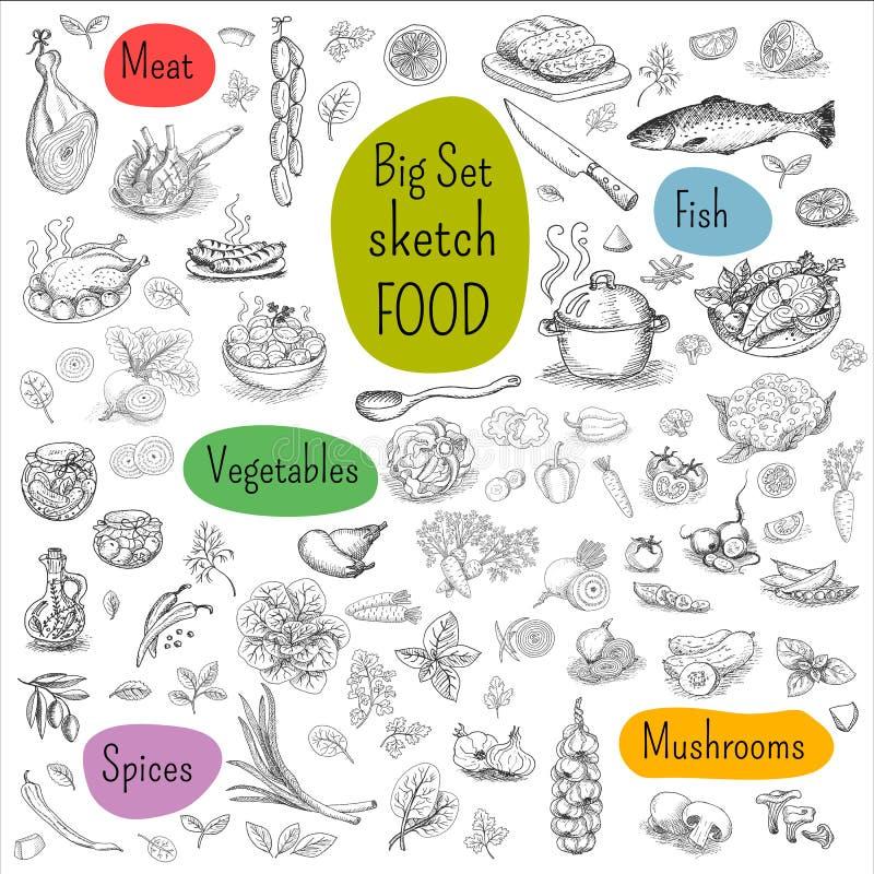 Grande insieme di alimento disegnato a mano illustrazione vettoriale
