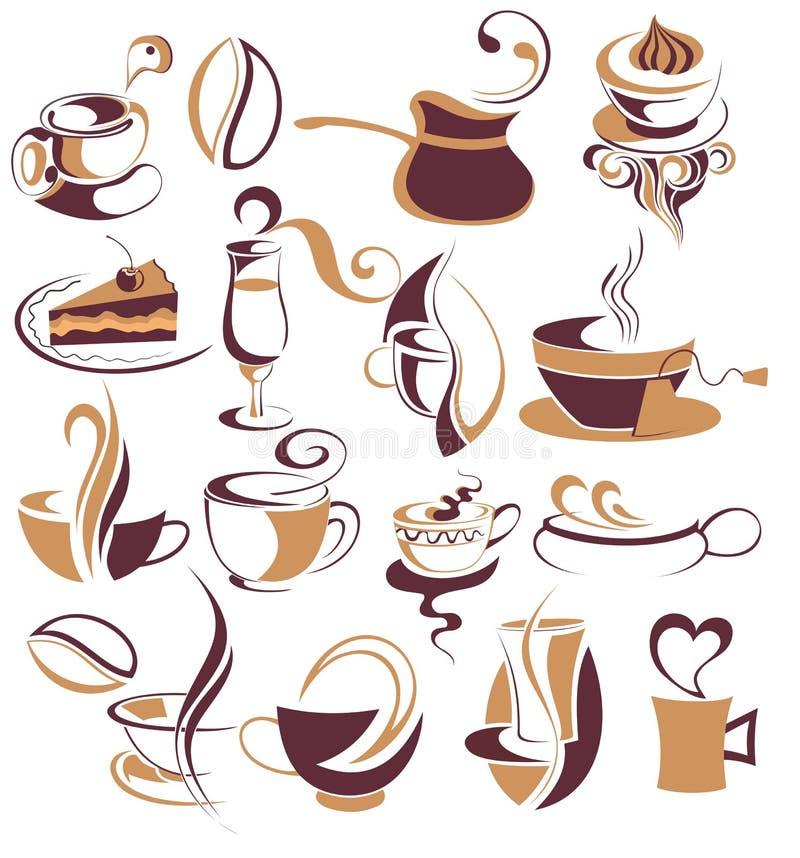 Grande INSIEME di caffè, elementi del tè illustrazione vettoriale