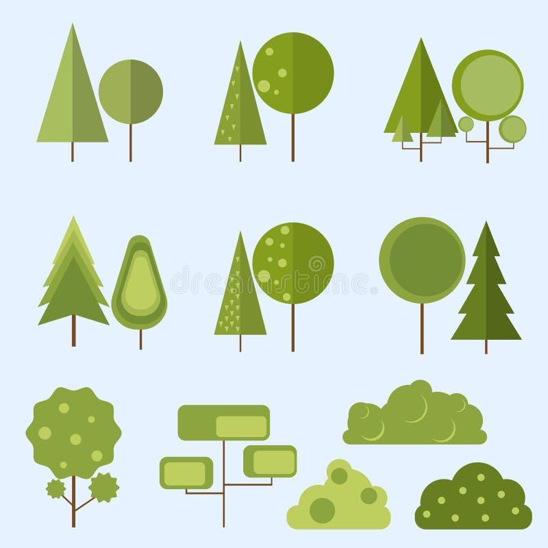 Grande insieme di conifero e delle latifoglie in uno stile piano illustrazione di stock