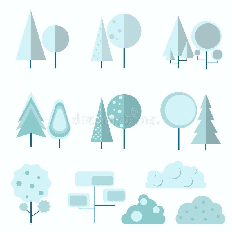 Grande insieme di conifero e latifoglie e cespugli in un piano illustrazione di stock
