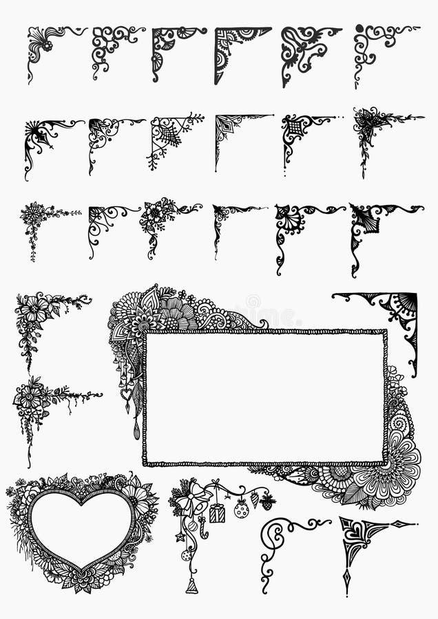 Grande insieme di disegnato a mano dei confini per l'elemento di progettazione illustrazione vettoriale