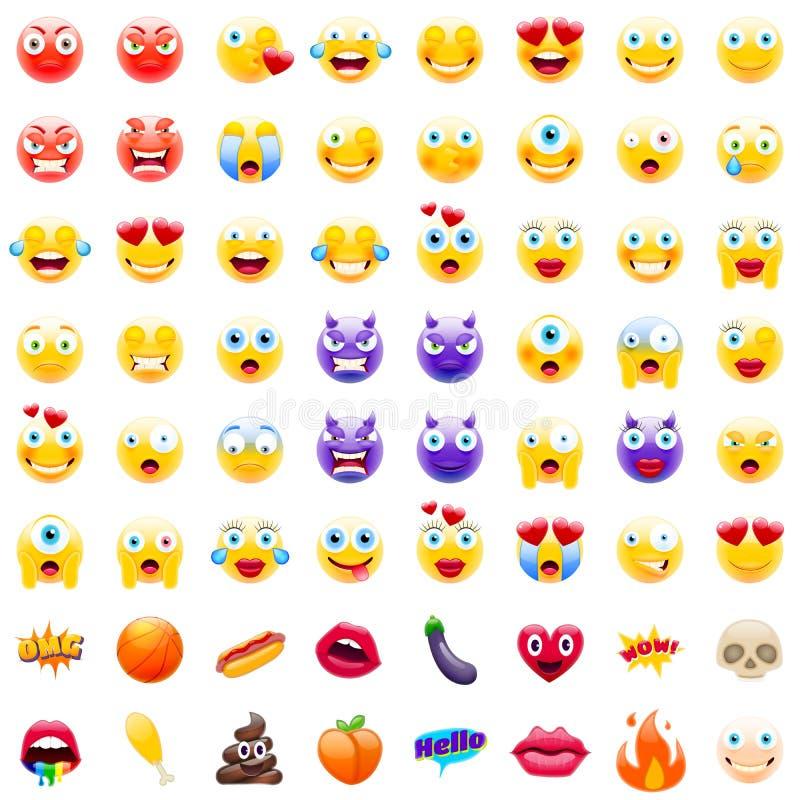 Grande insieme di Emojis moderno illustrazione vettoriale