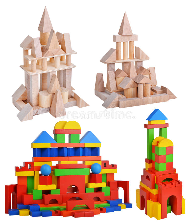 Grande insieme di legno della torre isolato su fondo bianco immagine stock