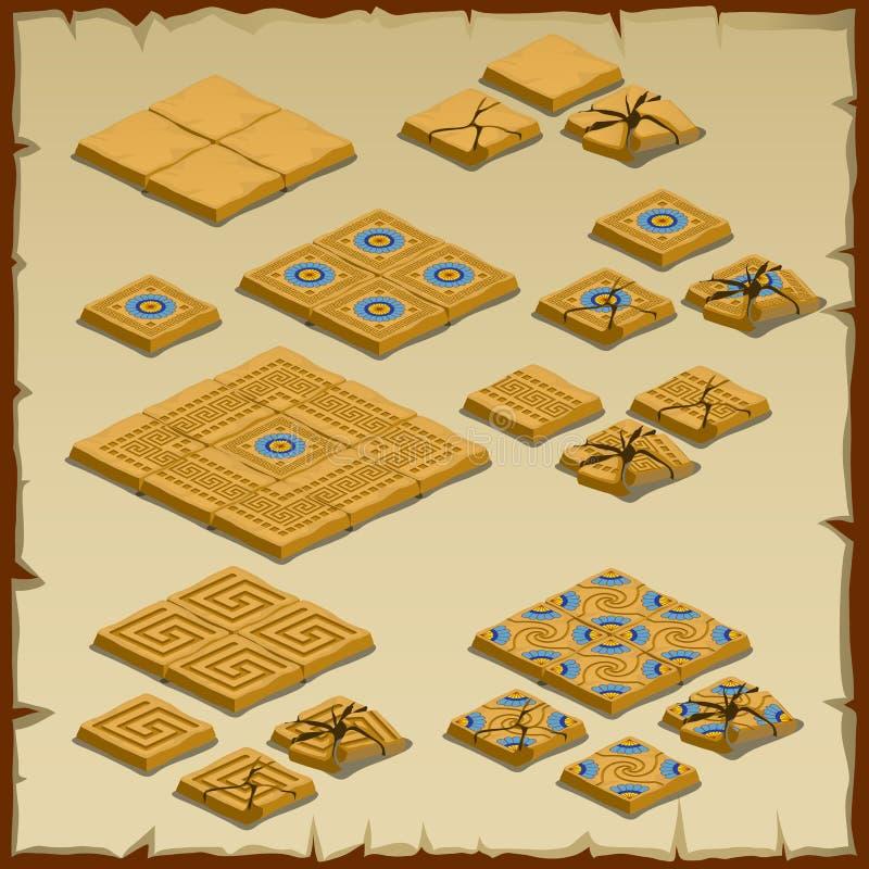 Grande insieme di pavimentazione delle mattonelle, tema egiziano illustrazione vettoriale