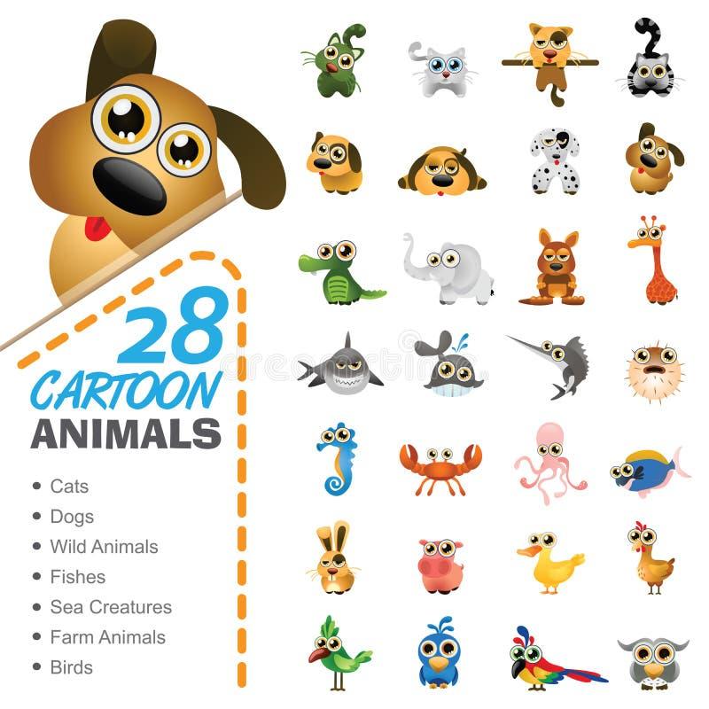Grande insieme di vari animali ed uccelli del fumetto illustrazione vettoriale