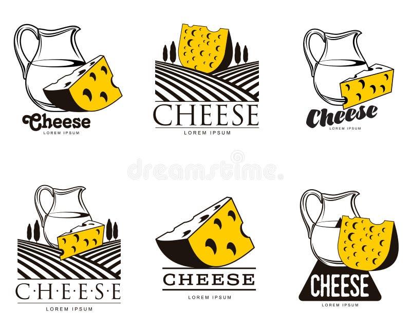 Grande insieme di vario logo con formaggio illustrazione di stock