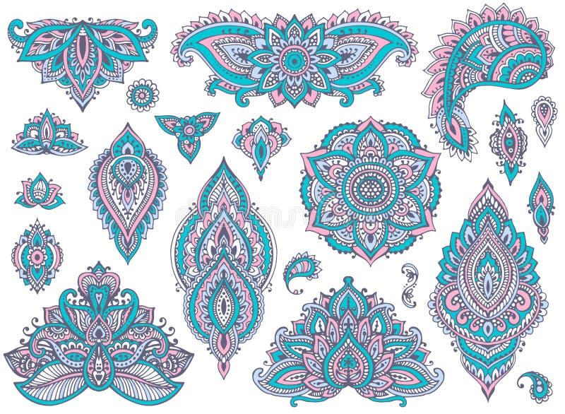 Grande insieme di vettore degli elementi floreali del hennè variopinto illustrazione di stock