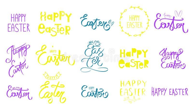 Grande insieme disegnato a mano del segno felice di giorno di Pasqua La grande raccolta della mano porpora gialla verde e viola h royalty illustrazione gratis