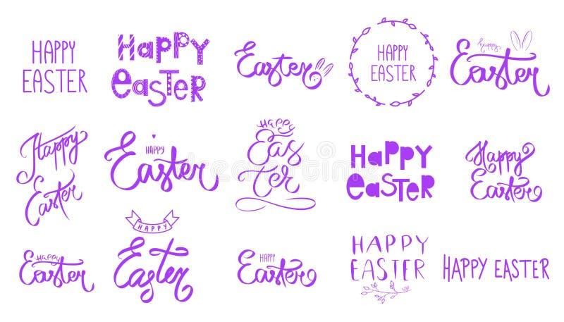 Grande insieme porpora viola di pasqua Segno scritto a mano di giorno di Pasqua felice della raccolta Stile della primavera Festa illustrazione vettoriale