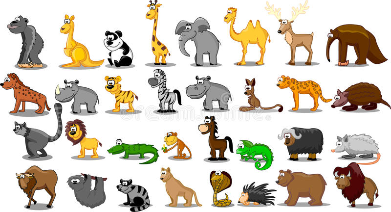 Grande insieme supplementare degli animali compreso il leone, kangaro illustrazione di stock