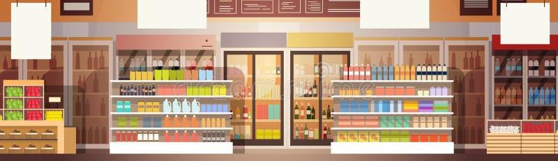 Grande interno del centro commerciale del supermercato del negozio illustrazione vettoriale