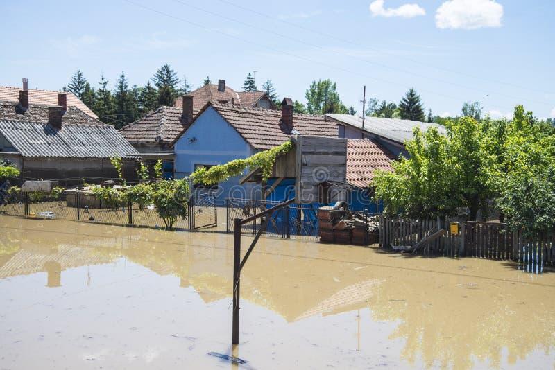 Grande inundação que incluiu casas, campos, florestas foto de stock