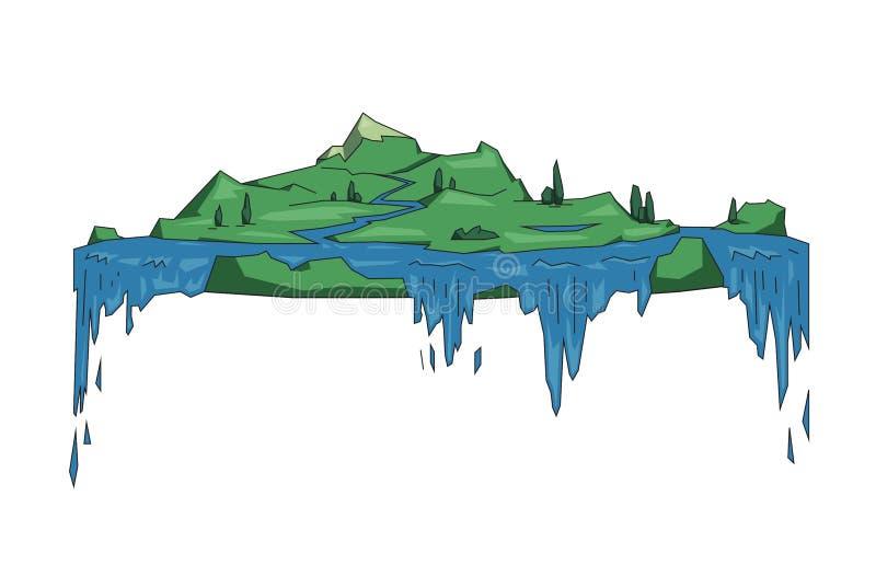 Grande isola di galleggiamento con le cascate, concetto piano della terra di fantasia Linea piana illustrazione di vettore Stile  royalty illustrazione gratis