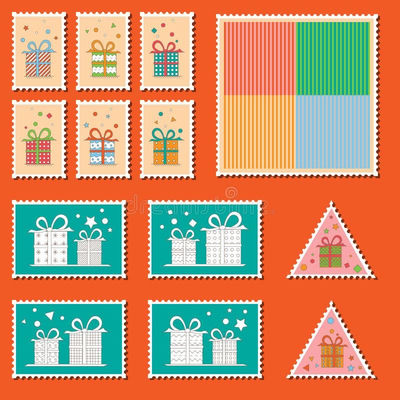 Grande jogo de selos de porte postal coloridos do Natal ilustração do vetor