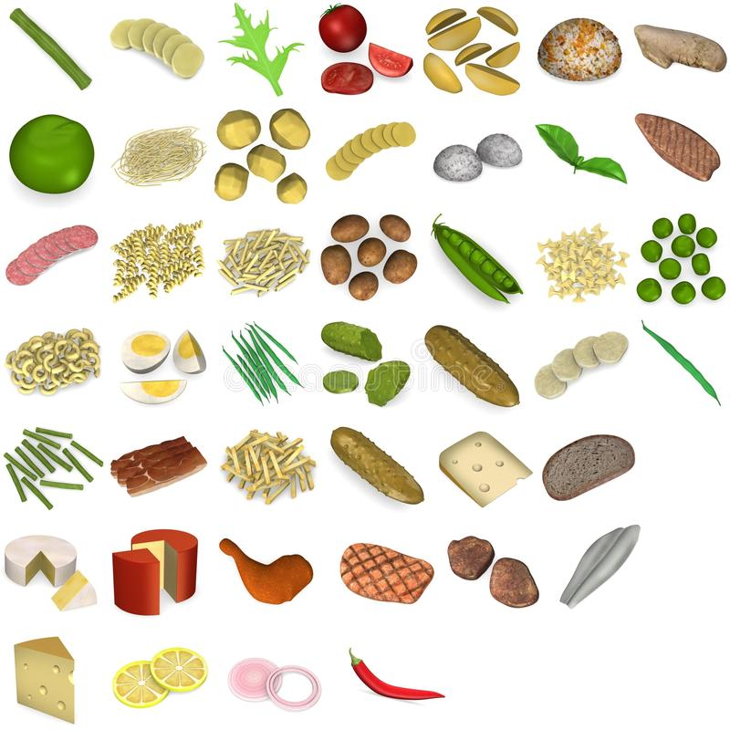 Grande jogo do alimento e do vegetal ilustração royalty free