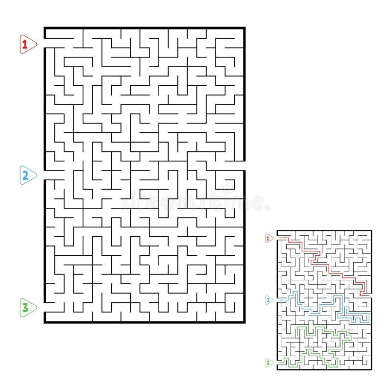 Grande labirinto retangular abstrato Jogo para miúdos Enigma para crianças Três entradas, uma saída Enigma do labirinto Vetor lis ilustração royalty free
