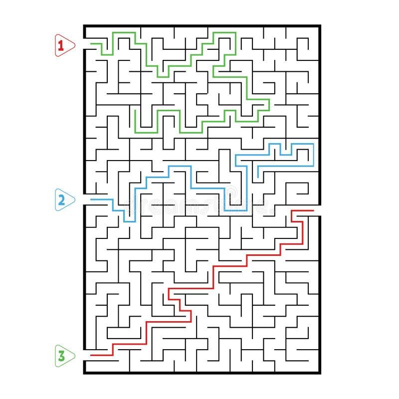 Grande labirinto retangular abstrato Jogo para miúdos Enigma para crianças Três entradas, uma saída Enigma do labirinto Vetor lis ilustração stock