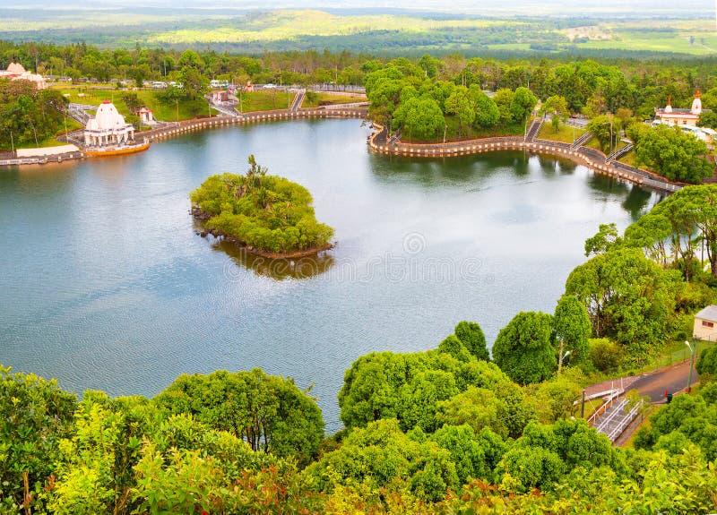 Grande lago del cratere di Bassin sulle Mauritius fotografia stock