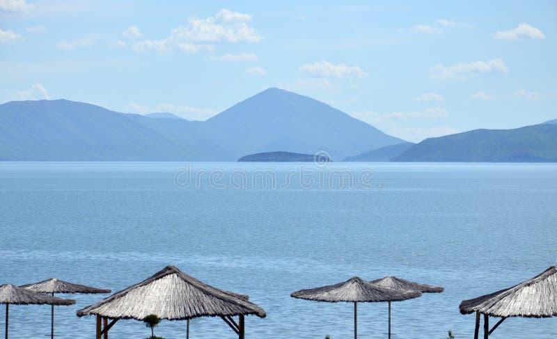 Grande lago Prespa, Macedônia, foto de stock