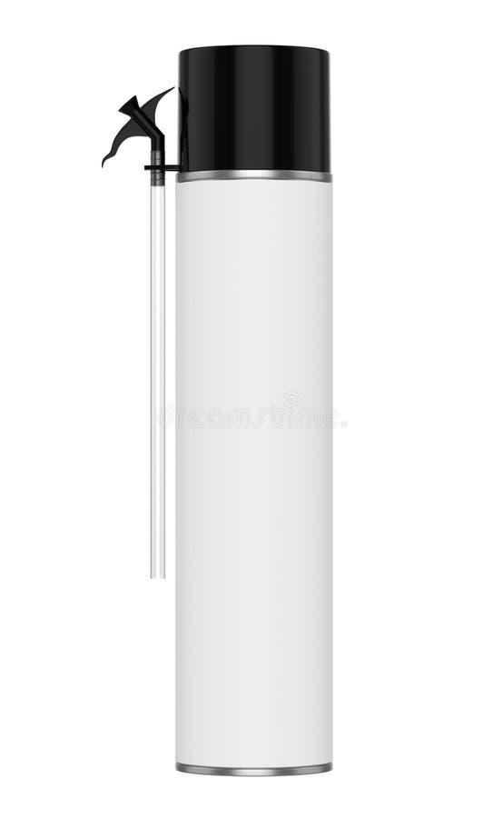 grande latta della schiuma di contstruction Con il coperchio nero, l'ugello spruzzatore nero ed il tubo flessibile trasparente immagine stock