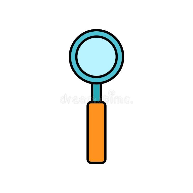 Grande lente ottica con una maniglia per l'avvicinamento e la ricerca, un'icona semplice su un fondo bianco Illustrazione di vett illustrazione di stock