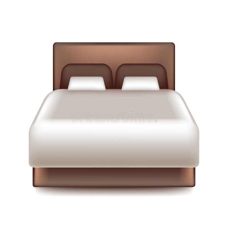 Grande letto isolato sul vettore bianco illustrazione vettoriale