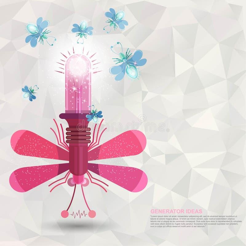 Grande libellule plate avec la lampe et un certain ver luisant près, idées de générateur illustration libre de droits
