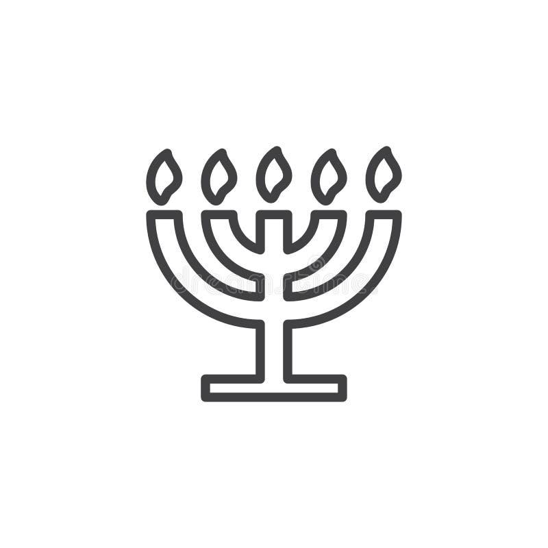 Grande ligne icône de Menorah illustration libre de droits