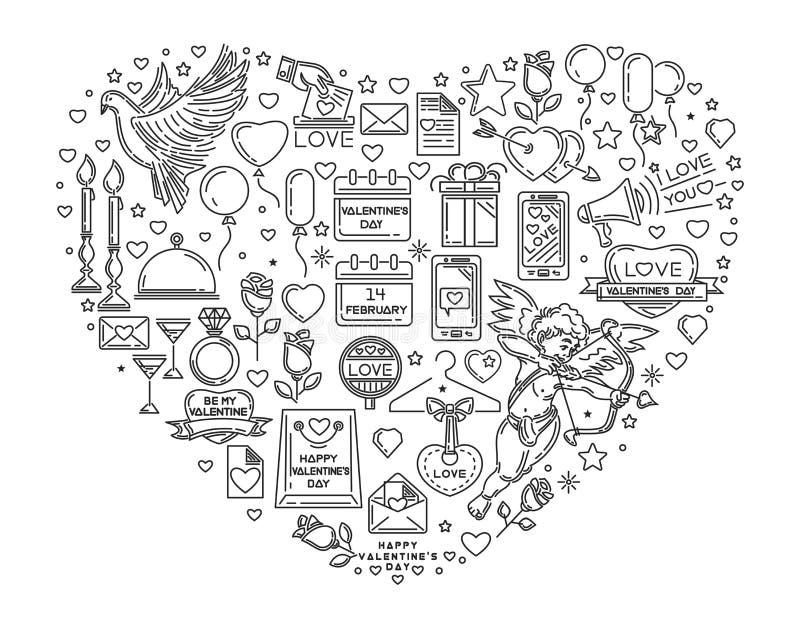 Grande ligne icônes réglées pour le jour de valentines illustration de vecteur