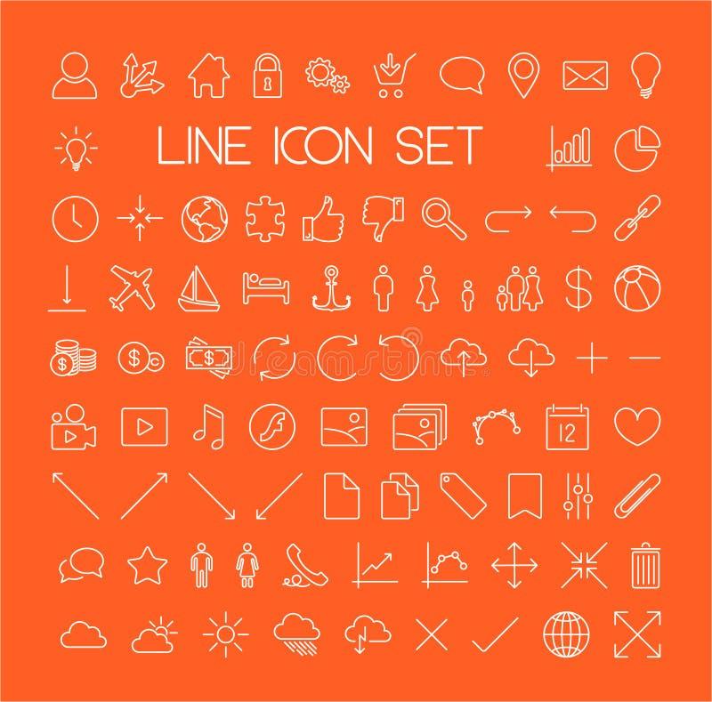 Grande ligne mince moderne ensemble d'icône illustration stock