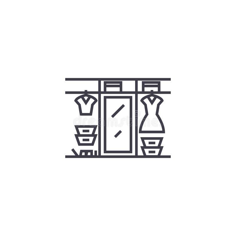 Grande linea icona, segno, illustrazione di vettore del guardaroba su fondo, colpi editabili royalty illustrazione gratis