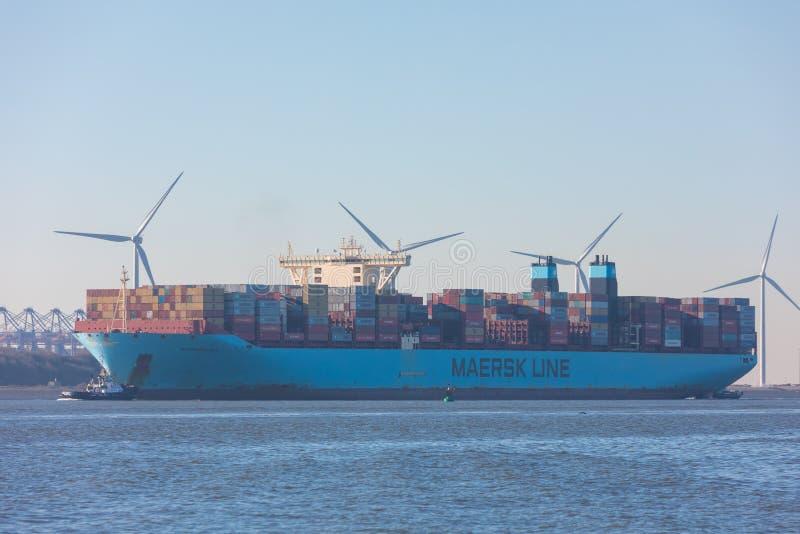 Grande linea navigazione del maersk del carico della nave di container dopo il furgone Olanda di Hoek e porto di Maasvlakte verso fotografia stock
