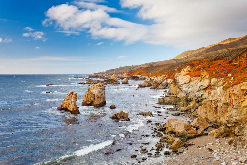 Grande litorale dell'Oceano Pacifico di Sur fotografia stock