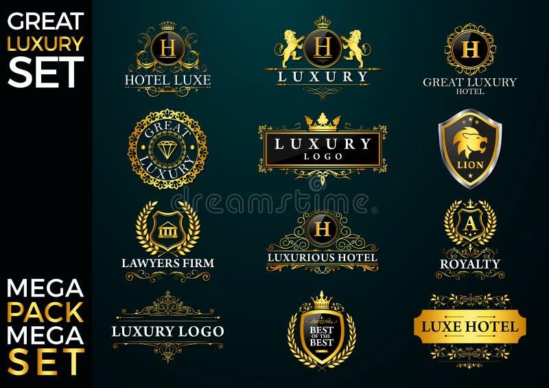 Grande logotipo luxuoso do grupo, o real e o elegante ilustração royalty free