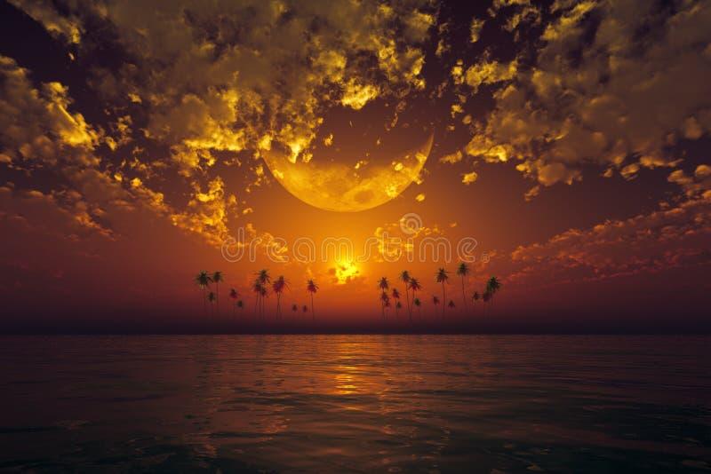 Grande luna in nuvole arancio illustrazione di stock