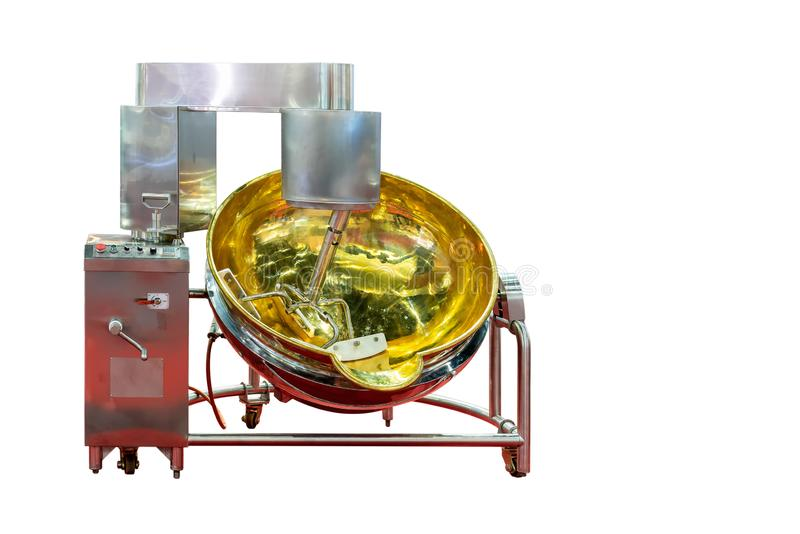 Grande máquina comercial automática e moderna do misturador de alimento para industrial isolada no fundo branco com trajeto de gr imagens de stock royalty free