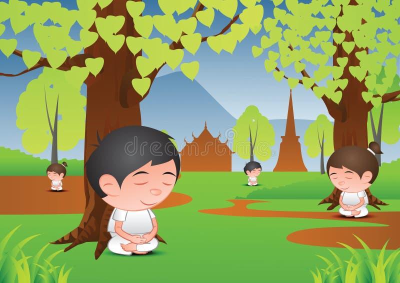 Grande méditation de bande dessinée d'homme et de femme de tête de bulle sous l'arbre dans f illustration stock